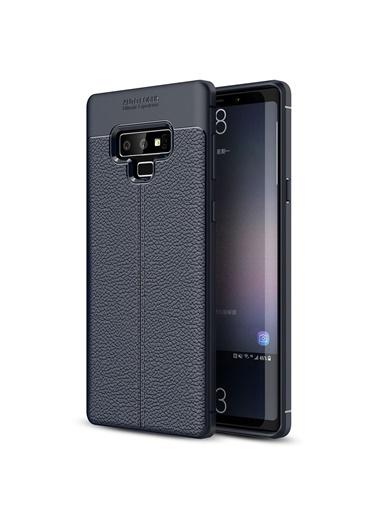 Microsonic Samsung Galaxy Note 9 Kılıf Deri Dokulu Silikon  Lacivert